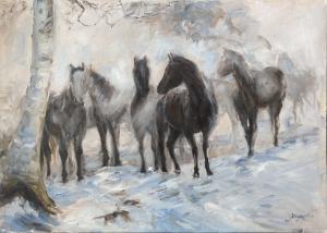 Paarden in ochtendmist